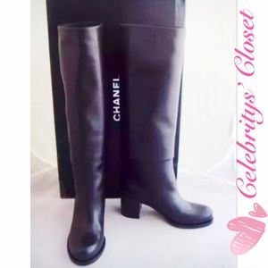 NEW AUTH CHANEL CC Logo High Fold SoldOut Boots 39